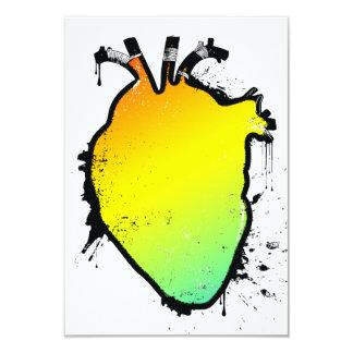 """corazón del arco iris invitación 3.5"""" x 5"""""""