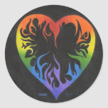 Corazón del arco iris pegatina redonda