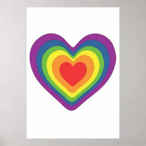 Corazón del arco iris poster