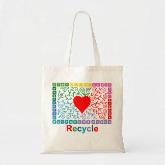 Corazón del arco iris - recicle el bolso bolsa tela barata