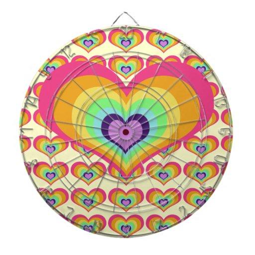 Corazón del arco iris tablero dardos