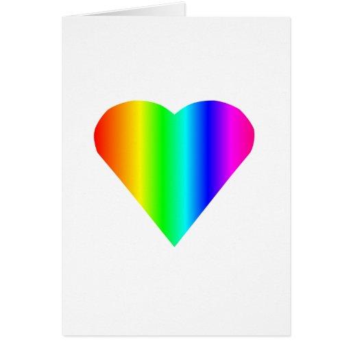 Corazón del arco iris tarjeta