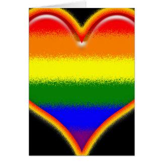 Corazón del arco iris tarjeta de felicitación