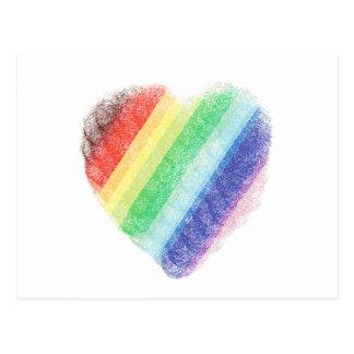 Corazón del arco iris postal