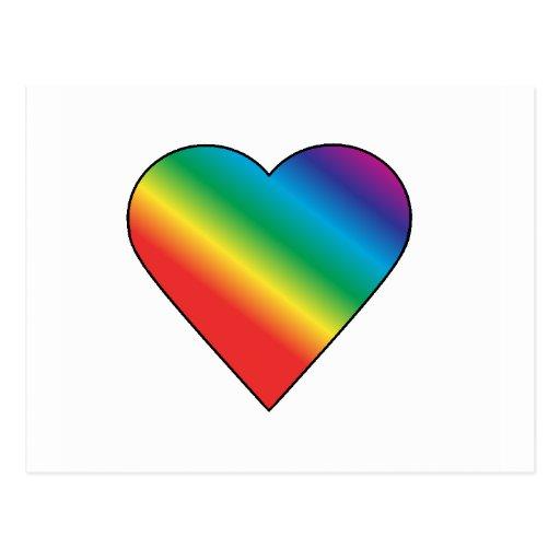 Corazón del arco iris tarjetas postales