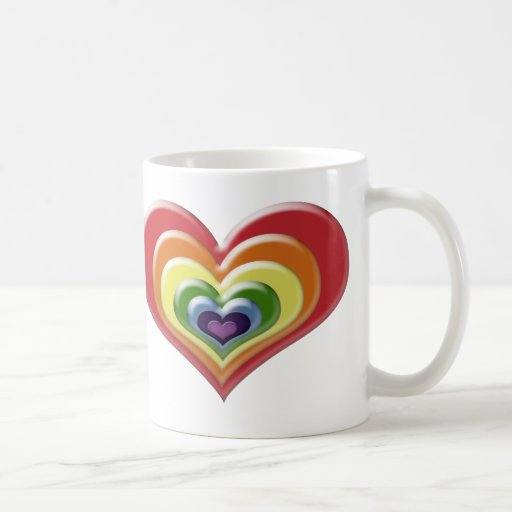 Corazón del arco iris taza básica blanca
