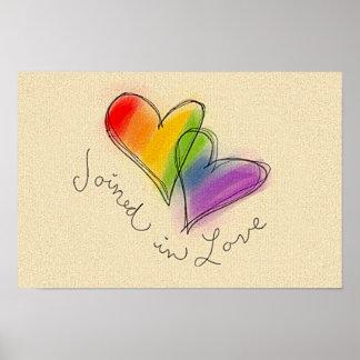 Corazón del arco iris unido en amor póster