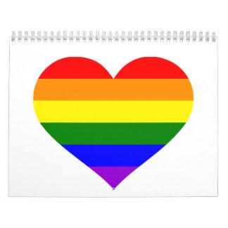 Corazón del arco iris calendarios