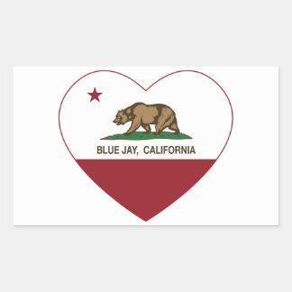 corazón del arrendajo azul de la bandera de pegatina rectangular
