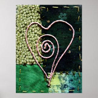 Corazón del arte de la fibra - en tonos verdes