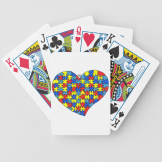 Corazón del autismo baraja de cartas bicycle
