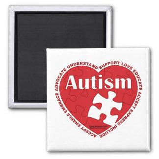 Corazón del autismo imán cuadrado