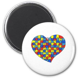 Corazón del autismo imán redondo 5 cm