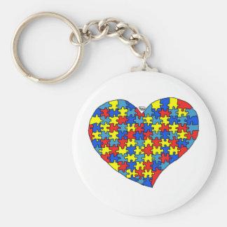 Corazón del autismo llavero redondo tipo pin