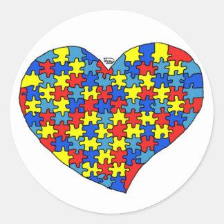 Corazón del autismo pegatina redonda