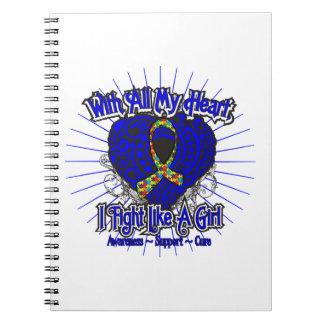 Corazón del autismo que lucho como un chica cuaderno