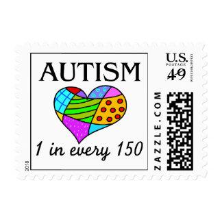 Corazón del autismo sello postal