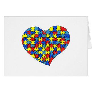 Corazón del autismo tarjeta de felicitación