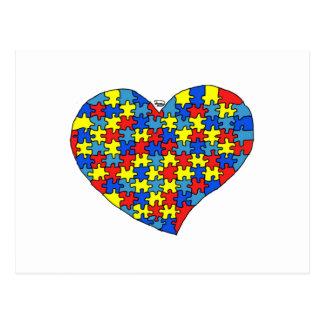 Corazón del autismo tarjeta postal