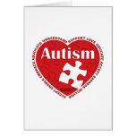Corazón del autismo tarjetón