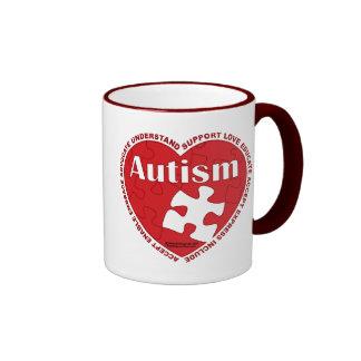 Corazón del autismo tazas de café