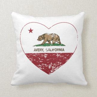 corazón del avery de la bandera de California Cojín
