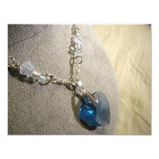 """Corazón del azul de Krystals Invitación 4.25"""" X 5.5"""""""