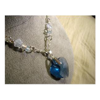 Corazón del azul de Krystals Tarjetas Postales
