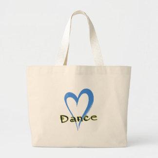 Corazón del azul de la danza bolsa tela grande
