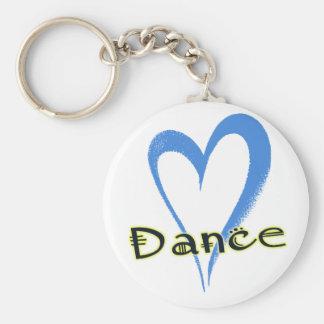 Corazón del azul de la danza llavero redondo tipo pin