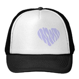 Corazón del azul de la lavanda gorras