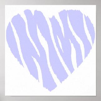 Corazón del azul de la lavanda impresiones