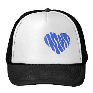 Corazón del azul real gorros bordados