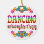 Corazón del baile feliz ornamento de navidad