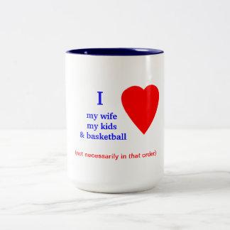Corazón del baloncesto I mi esposa Taza