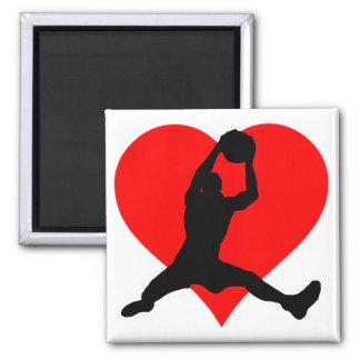 Corazón del baloncesto imán cuadrado
