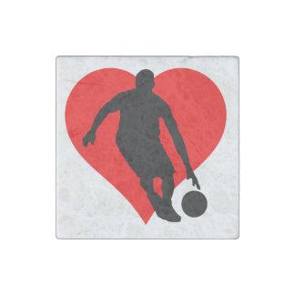 Corazón del baloncesto imán de piedra