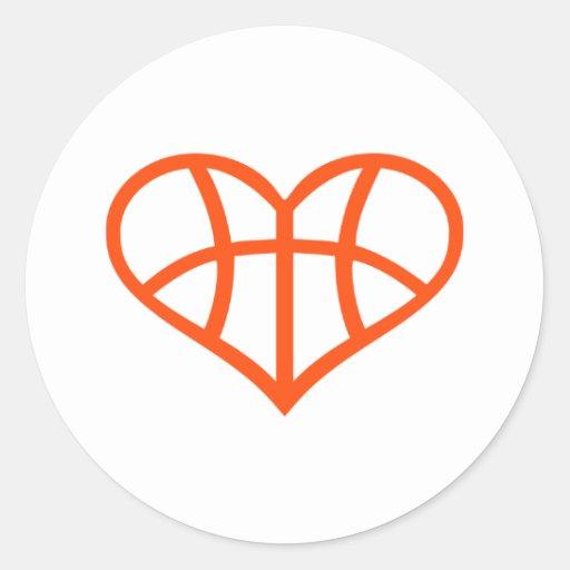Corazón del baloncesto pegatinas redondas