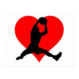 Corazón del baloncesto tarjetas postales