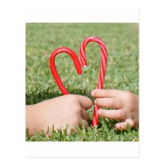 Corazón del bastón de caramelo tarjetas postales