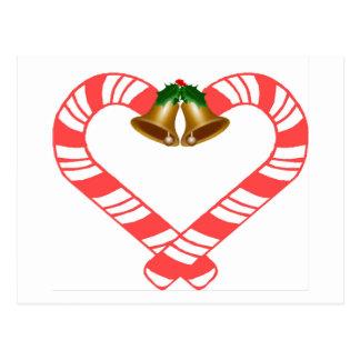 Corazón del bastón de caramelo postal