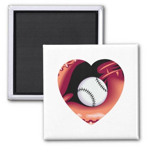 Corazón del béisbol iman de frigorífico