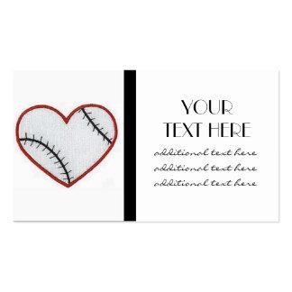 Corazón del béisbol tarjetas de visita