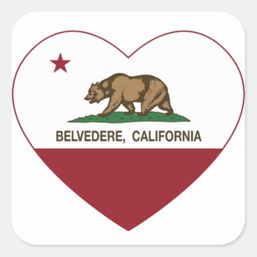corazón del belvedere de la bandera de California Calcomanía Cuadradase