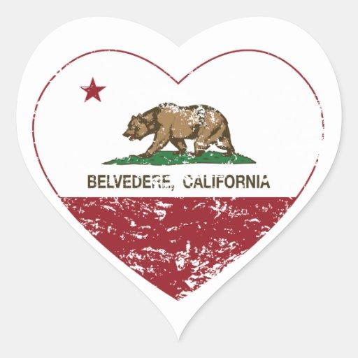 corazón del belvedere de la bandera de California Colcomanias Corazon