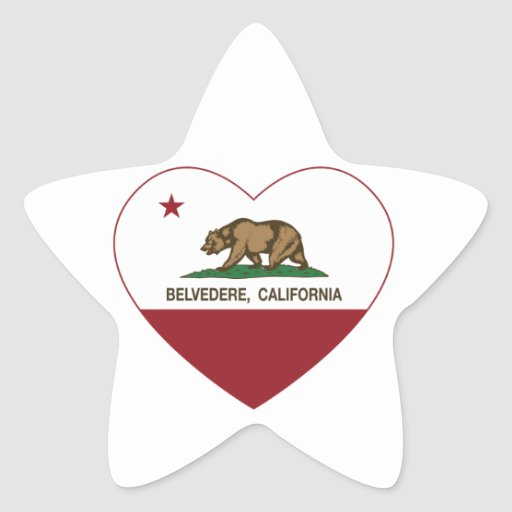 corazón del belvedere de la bandera de California Calcomanías Forma De Estrellaes