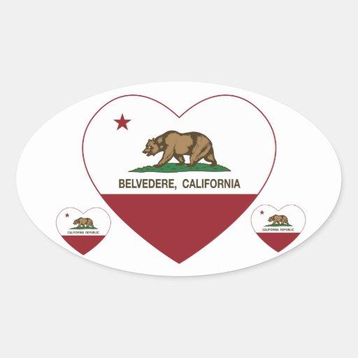 corazón del belvedere de la bandera de California Calcomanía Óval Personalizadas