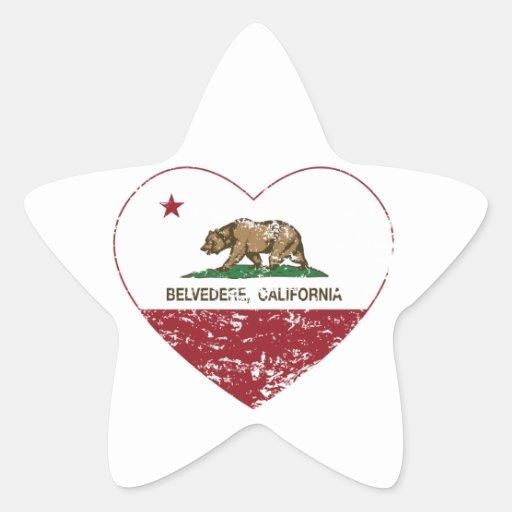 corazón del belvedere de la bandera de California Calcomanía Forma De Estrella
