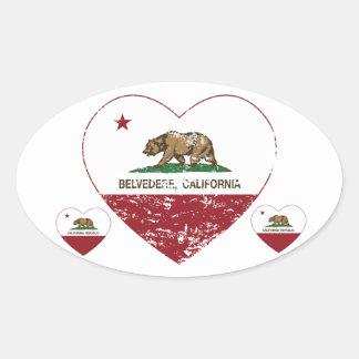 corazón del belvedere de la bandera de California Pegatina Ovalada