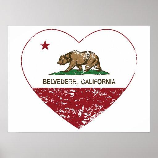 corazón del belvedere de la bandera de California  Póster